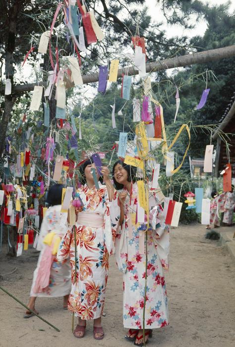 7月 7日には七夕の祭りをします。女の子たちは夕方の空に天の川の織姫星と彦星を眺め、習字や裁縫が上手になるようにと短冊に書いて竹さおにつるして願います。