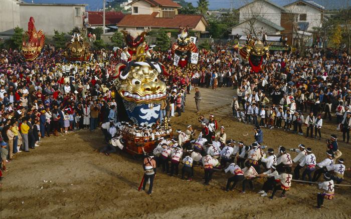 11月 都会では神輿をかつぎ山車を引きまわして元気あふれる祭りをします。