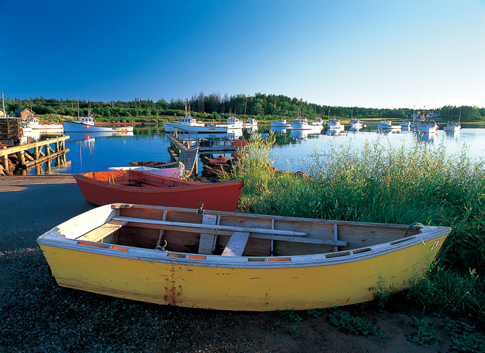 カラフルにペイントされた小舟を使って、漁師は毎日、自分のまっ白な船に渡る