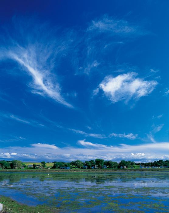 いつも微かに海の香りがする小さな村。雲が勢いよく、風にのって天高くかけのぼっていく(PE)