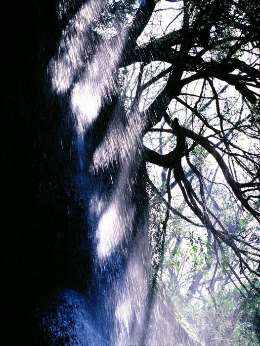 大分県・耶麻渓の羽衣の滝です。温泉の滝なので、霧状に流れ落ちやすく、光芒が見られます。