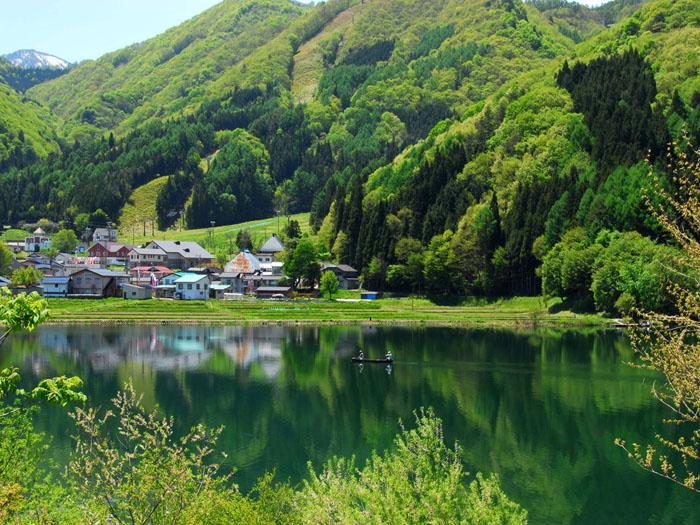 新緑に包まれて(長野県、大町市、中綱湖)